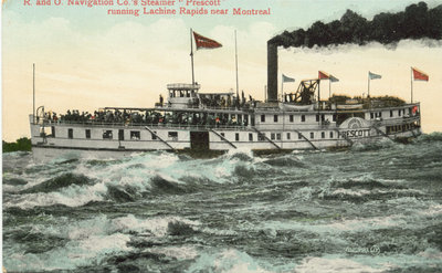 "R. and O. Navigation Co.'s Steamer ""Prescott"" running Lachine Rapids near Montreal"