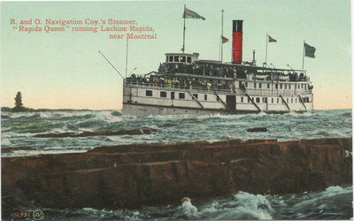 """R. and O. Navigation Coy.'s Steamer, """"Rapids Queen"""" running Lachine Rapids, near Montreal"""