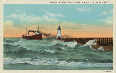Steamer Windsor Entering Port in a Storm, Sodus Bay, N.Y.