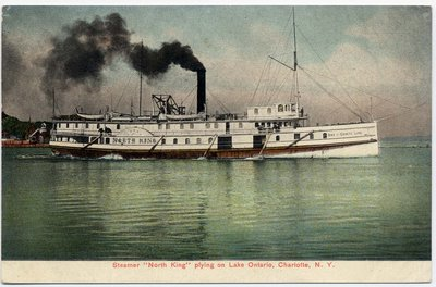 """Steamer """"North King"""" plying on Lake Ontario, Charlotte, N. Y."""
