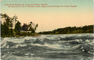 Long Sault Rapids, St. Lawrence River, Canada As seen from R. & O. Steamer while being carried through the Lower Rapids