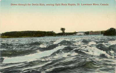 Down through the Devils Hole, nearing Split Rock Rapids, St. Lawrence River, Canada