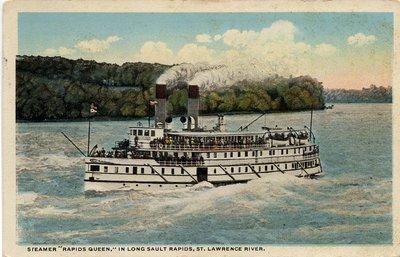 "Steamer ""Rapids Queen,"" in Long Sault Rapids, St. Lawrence River"