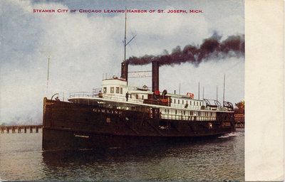 Steamer CITY OF CHICAGO leaving harbor of St. Joseph, Mich.