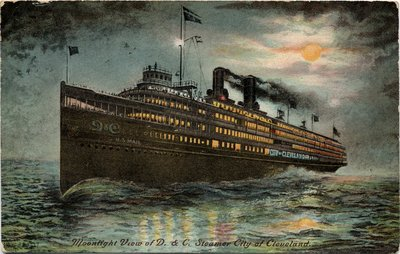 Moonlight View of D. & C. Steamer City of Cleveland