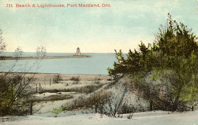 Beach & Lighthouse, Port Maitland, Ont.
