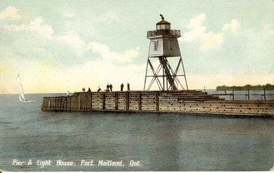 Pier & Light House, Port Maitland, Ont.