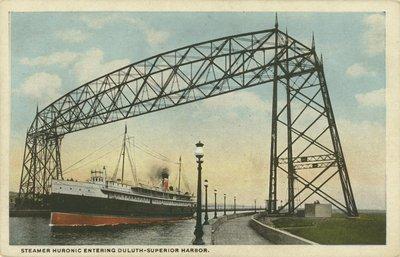 Steamer HURONIC entering Duluth-Superior Harbor