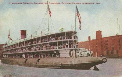 Whaleback Steamer, Christopher Columbus, Entering Harbor, Milwaukee, Wis.