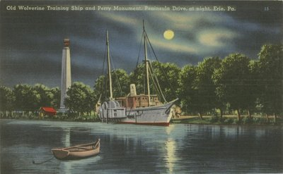 Old Wolverine Training Ship and Perry Monument, Peninsula Drive, at night, Erie, Pa.