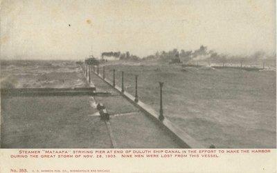 "Steamer ""Mataafa"" striking pier at end of Duluth Ship Canal"