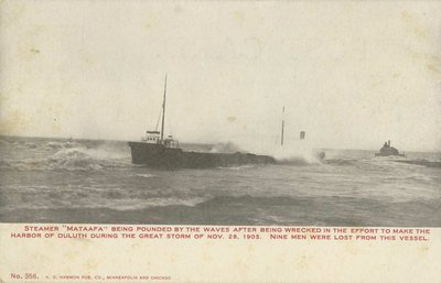 "Steamer ""Mataafa"" being pounded by the waves"