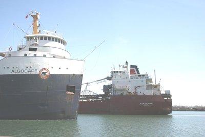 MV ALGOCAPE passing the MV NANTICOKE in the Welland Canal