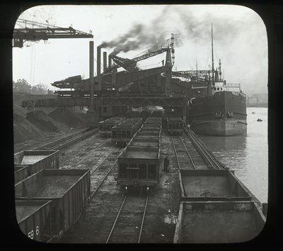 Great Hoists, Hughlett & Brown Electric at Work Unloading Vessels, Conneaut, Ohio, U.S.A.