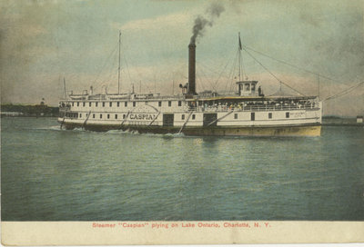 "Steamer ""Caspian"" plying on Lake Ontario, Charlotte, N.Y."