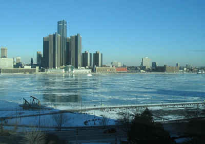 Detroit River, from Windsor in February