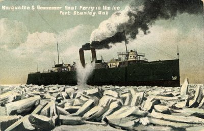Marquette & Bessemer Coal Ferry in the Ice, Port Stanley, Ont.