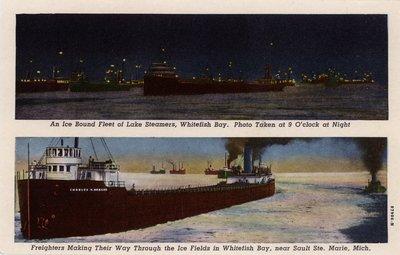 An Ice Bound Fleet of Lake Steamers, Whitefish Bay.