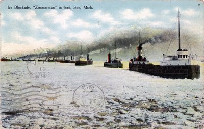 "Ice Blockade, ""Zimmerman"" in lead, Soo, Mich."