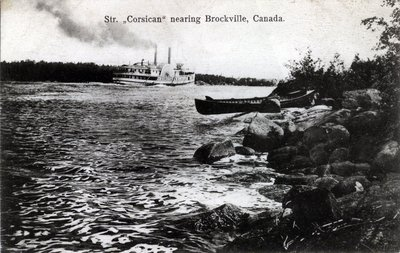 "Str. ""Corsican"" nearing Brockville, Canada."