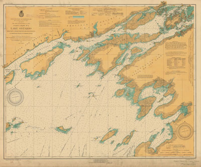 Lake Ontario Coast Chart No. 1. from Prince Edward Point, Ont. and Stony Point, N.Y. to Grindstone Island, St. Lawrence River. 1922