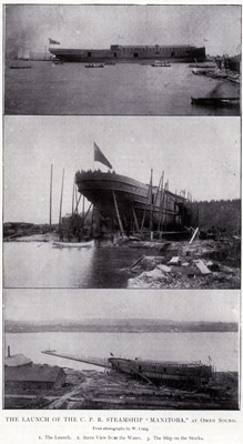 "The Launch of the C. P. R. Steamship ""MANITOBA"" at Owen Sound"