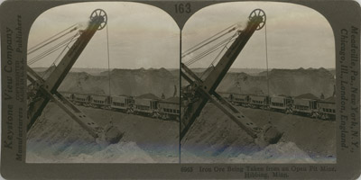 Iron Ore being taken from an Open-Pit Mine, Hibbing, Minn.