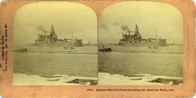 Algoma Steel Co's boat unloading ore, Sault Ste Marie, Ont.