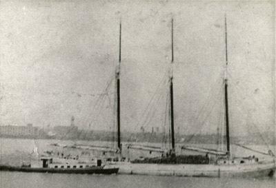 Unknown three masted schooner