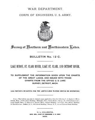 Survey of Northern and Northwestern Lakes. Bulletin No. 12 C. Lake Huron, St. Clair River, Lake St. Clair, and Detroit River.