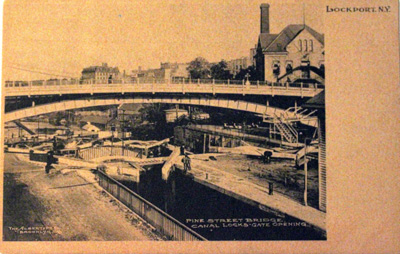 Lockport, N.Y. Pine Street Bridge. Canal Locks Gate Opening