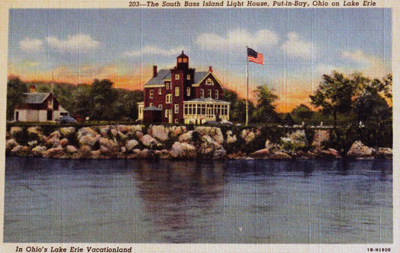 The South Bass Island Light House, Put-in-Bay, Ohio on Lake Erie