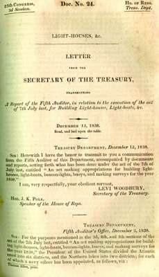 Letter from the Secretary of the Treasury Transmitting A Report of the Fifth Auditor, in relation to the execution of the act of 7th July last, for Building Light-houses, Light-boats, &c