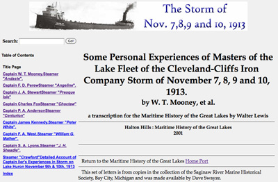 Some Personal Experiences of Masters of the Lake Fleet of the Cleveland-Cliffs Iron Company Storm of November 7, 8, 9 and 10, 1913
