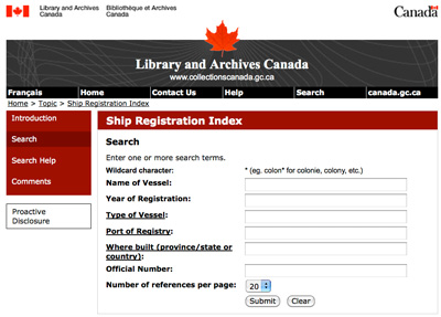 Ship Registration Index