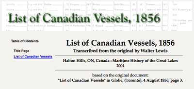 List of Canadian Vessels