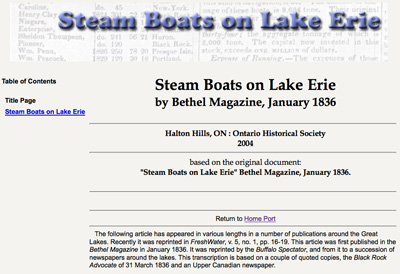 Steam Boats on Lake Erie
