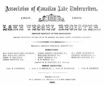 Lake Vessel Register, 1869