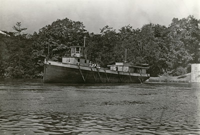 Black and white photograph of the steamboat JOHN RANDALL at Main Duck Island on Lake Ontario