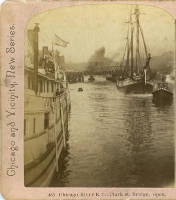 Chicago River E. fr. Clark st. Bridge, open