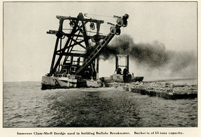 Immense Clam-Shell Dredge used in building Buffalo Breakwater