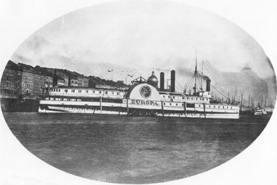 The Steamer EUROPA, at Montreal, after being brought down the rapids.