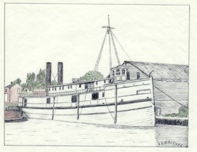 The propeller HER MAJESTY in the Canal Basin at Dundas in 1868 when the Dundas Foundry ws fitting new machinery.