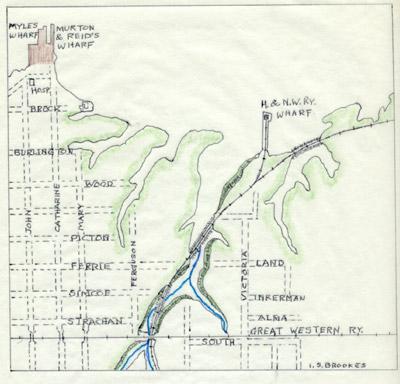 Plan of the Hamilton & NorthWestern Railway wharf, 1874