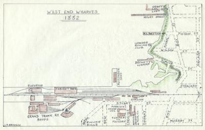 Hamilton West End Wharves, 1882