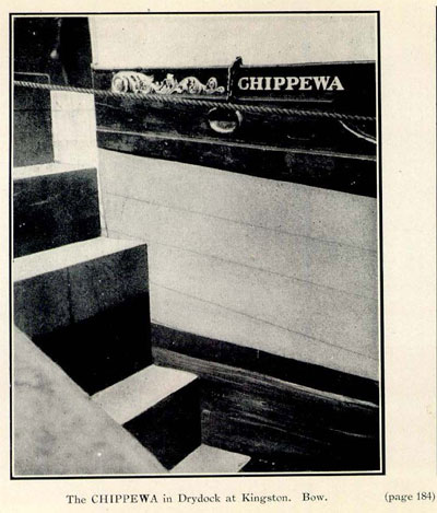 The CHIPPEWA in Drydock at Kingston. Bow.
