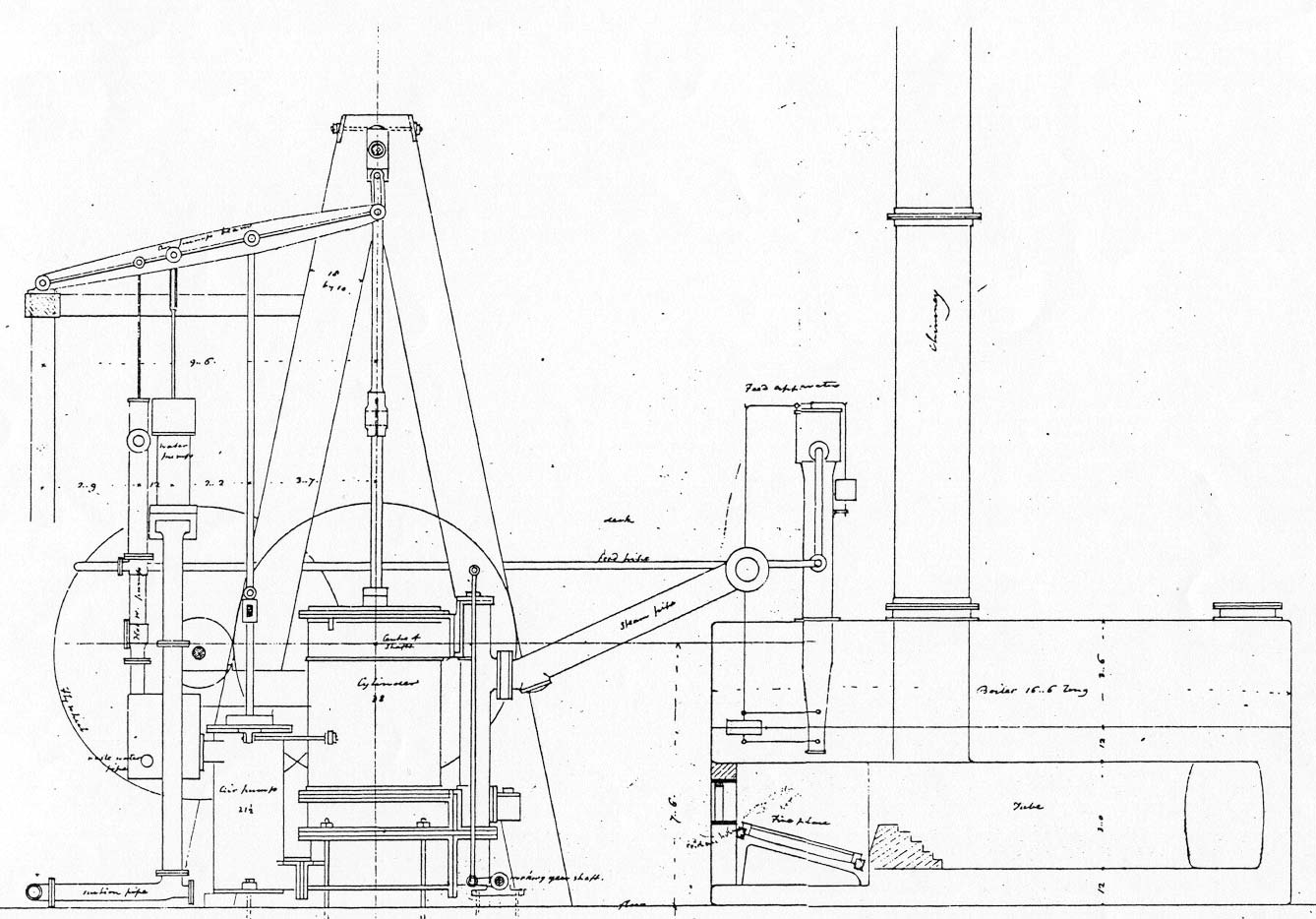The Steamboat Frontenac's  Engine drawings
