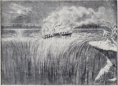 Steamer Caroline, burned and sent over Niagara Falls in 1837.