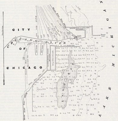 Chicago Harbor in 1870