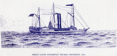 Great Lakes Steamboat Thomas Jefferson, 1834